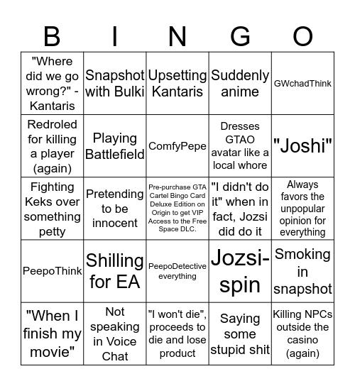 GTA Cartel Bingo Card - HUNJozsi EAdition Bingo Card