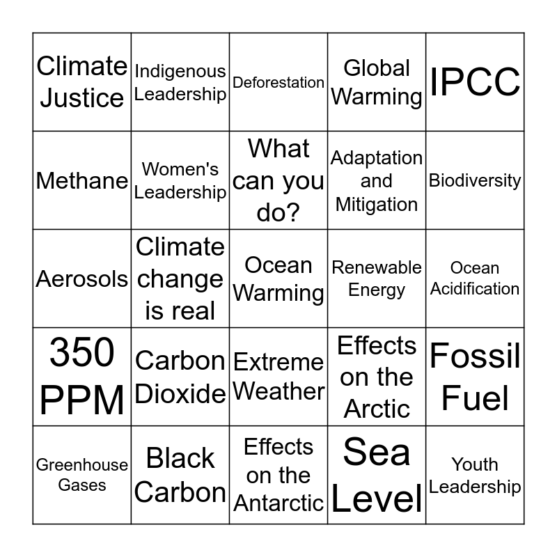 CLIMATE CHANGE BINGO Card