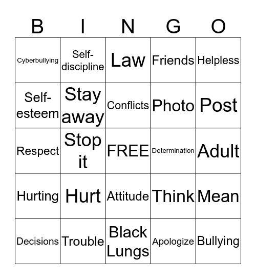 Bullying, Self-esteem, Alcohol Bingo Card