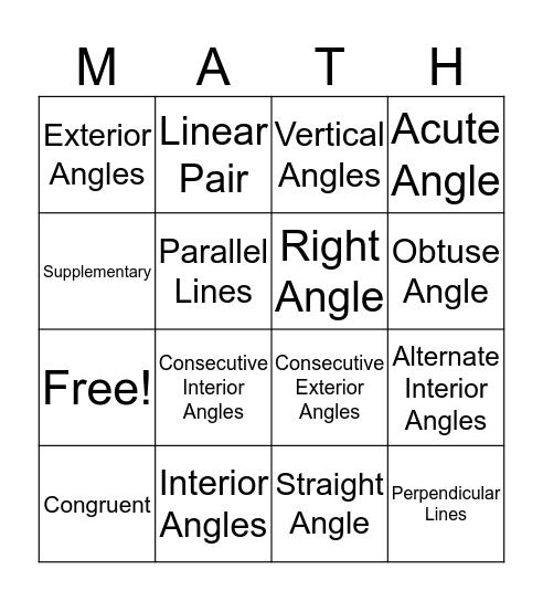 Parallel Lines cut by a Transversal Bingo Card