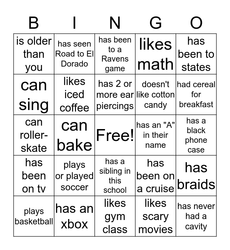 Project S.I.S People Bingo Card