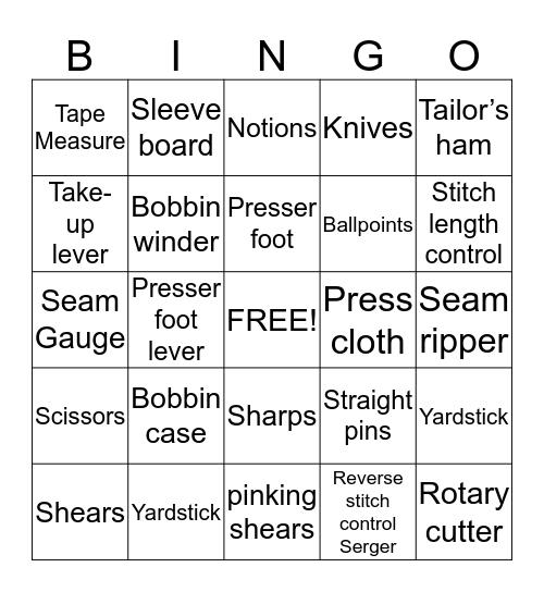 Clothing I Equipment Bingo Card