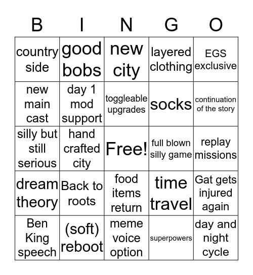 Saints Row predictions Bingo Card