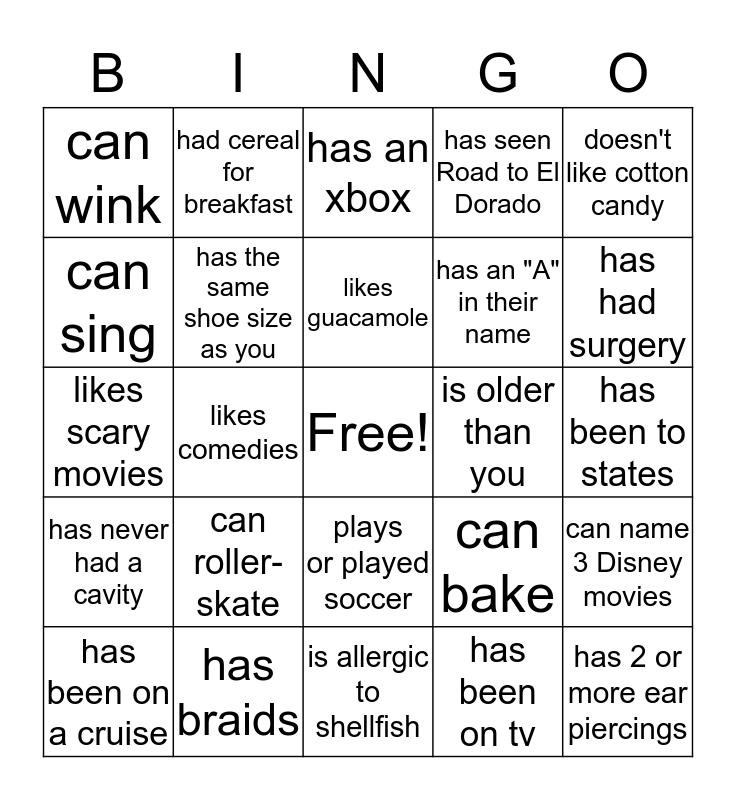 Project S.I.S People Bingo Card