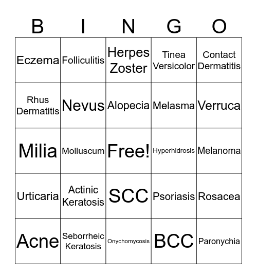 Georgia Dermatology Partners Bingo Card