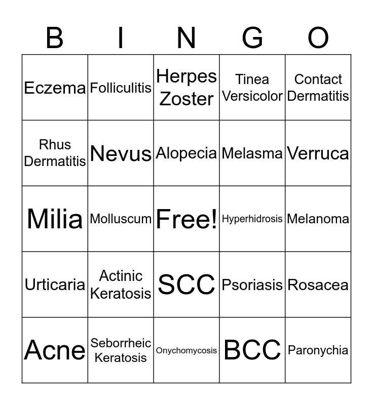 Georgia Dermatology Partners Bingo Card