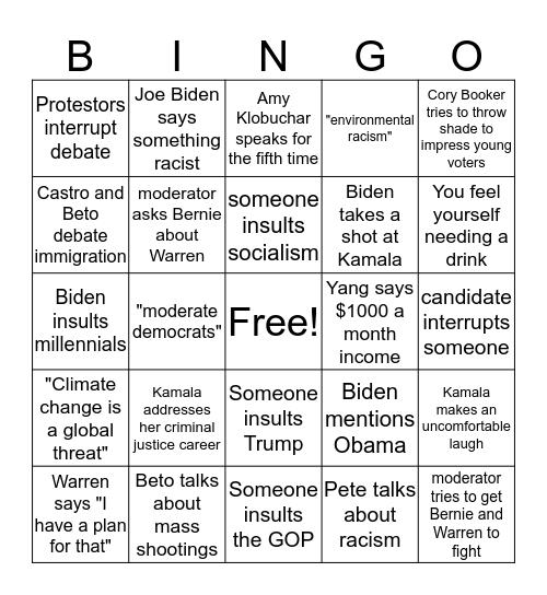 September Democratic Debate Bingo Card