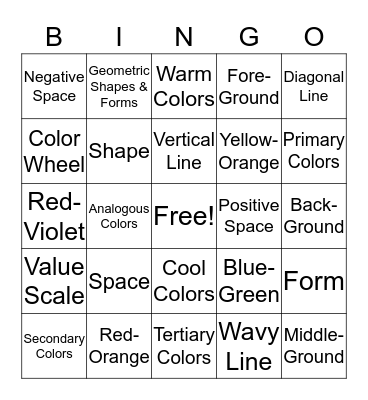 Elements of Art Bingo Card