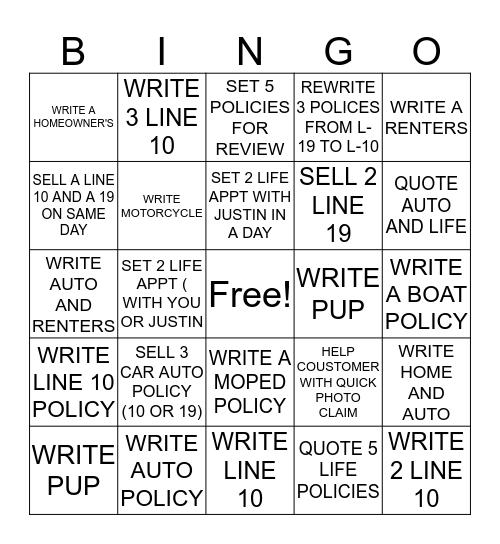 Allstate Bingo Card