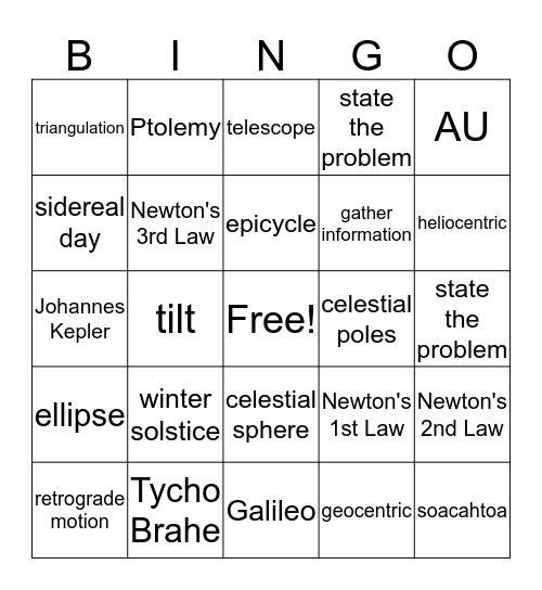 History of Astronomy Bingo Card