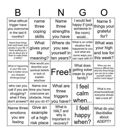 Recovery Bingo Card