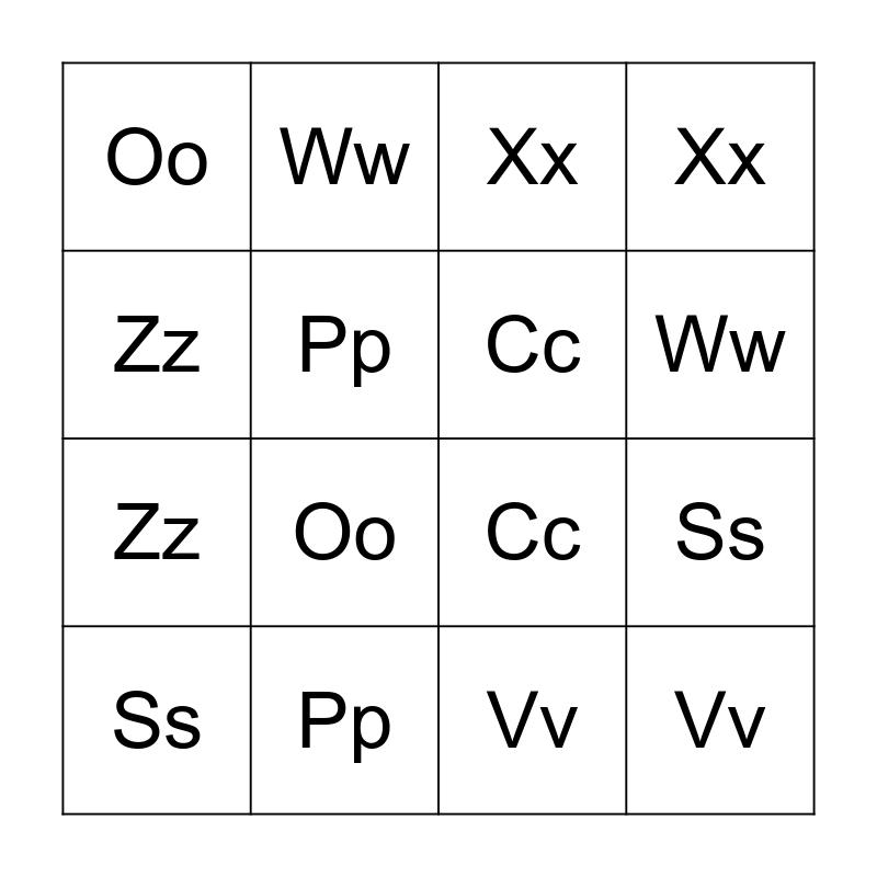 Letter Bingo Card