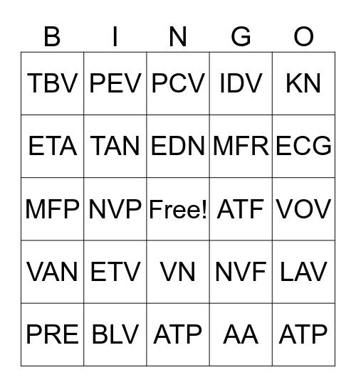 Auto Text  Bingo Card