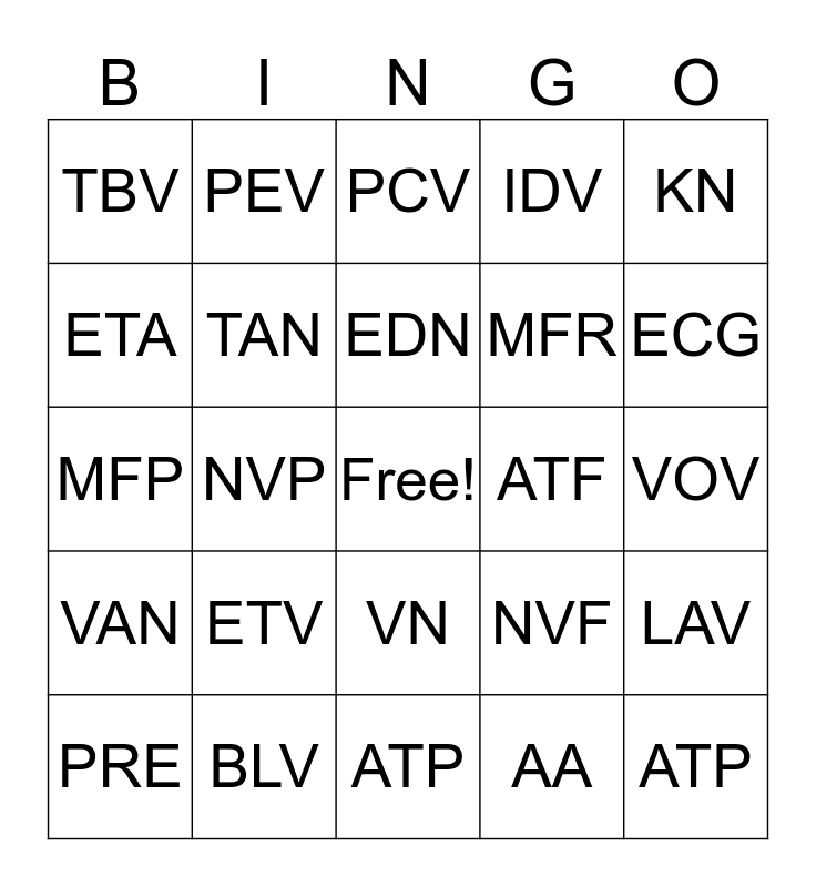 Auto Text  Bingo Card