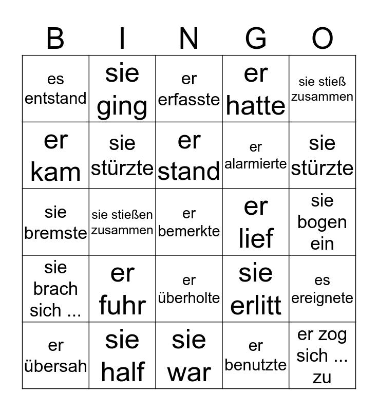 Verben im Präteritum Bingo Card