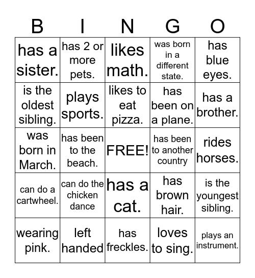 Brownie Bingo! Bingo Card