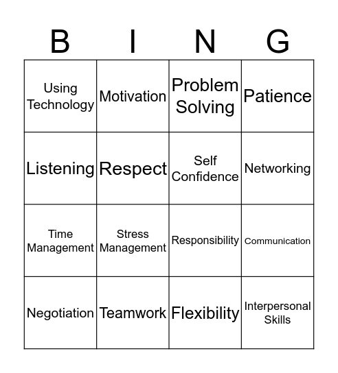 Soft Skills Bingo Card