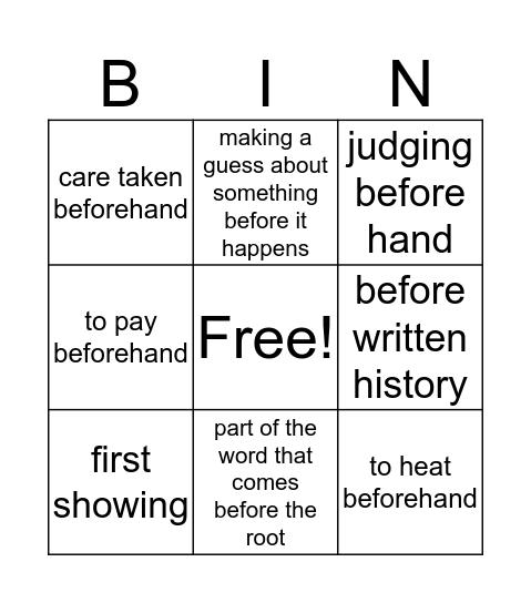 Pre Words Bingo Card