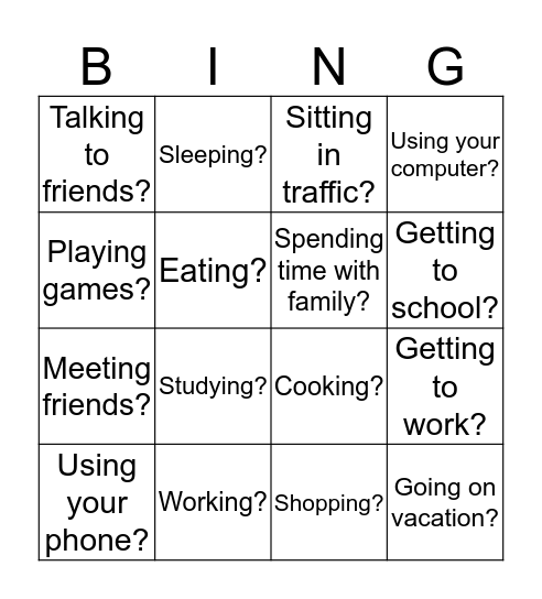 In the last 3-5 years, do you spend more or less time... Bingo Card