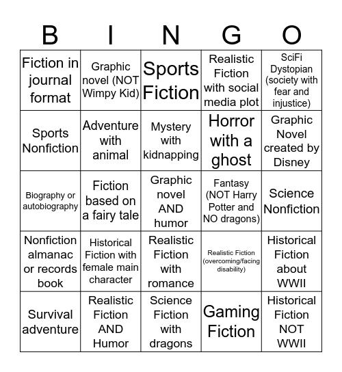 Book Fair Genre Bingo Card