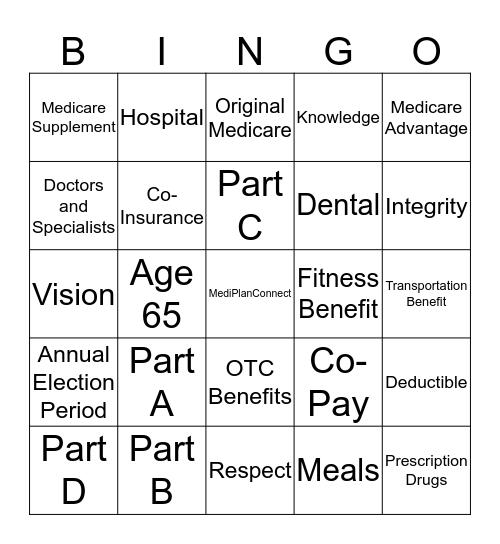 MediPlanConnect Bingo Card