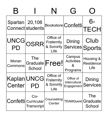 CONNECT Resources Bingo Card