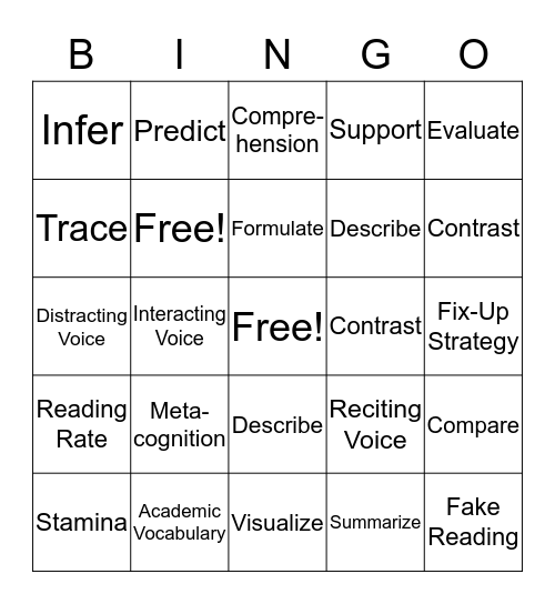 Unit One (So Far) Bingo Card