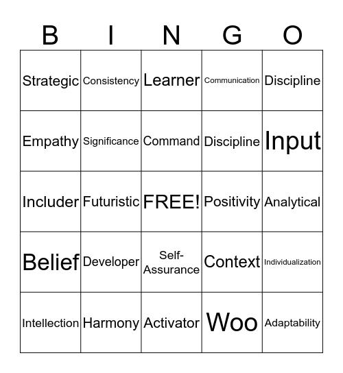 StrengthsFinder Bingo Card