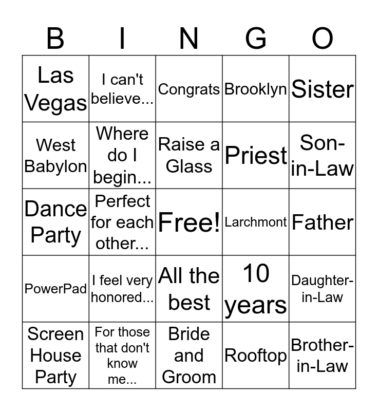 Wedding Speech Bingo! Bingo Card