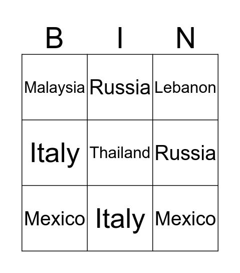 Nationalities Bingo Card