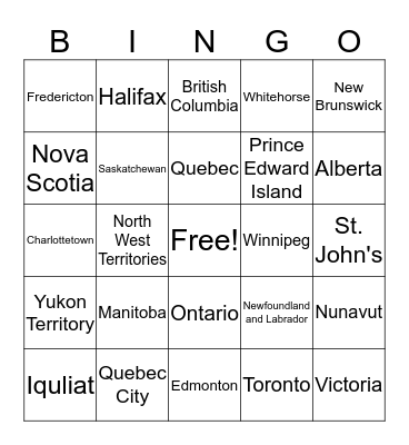 Canadian Provinces, Territories, and Capital Cities Bingo Card