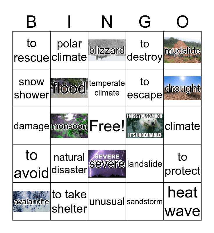 horrible weather Bingo Card