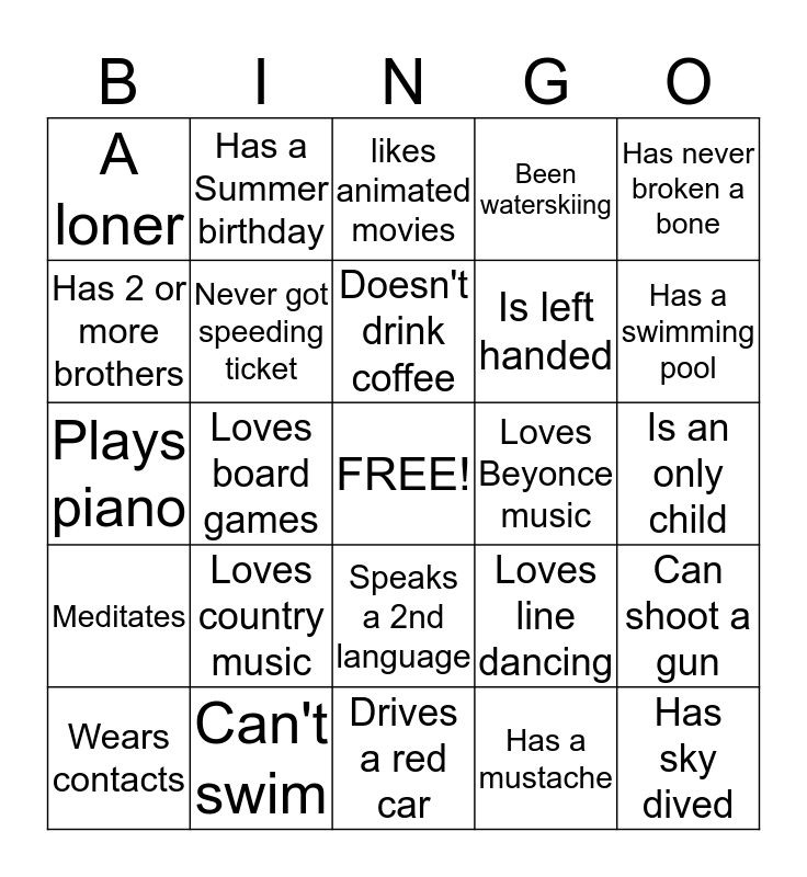 People Bingo:  Find 1 person for each square, no repeating! Bingo Card