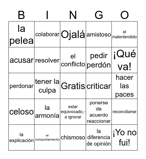 Capitulo 4b Vocabulario Bingo Card