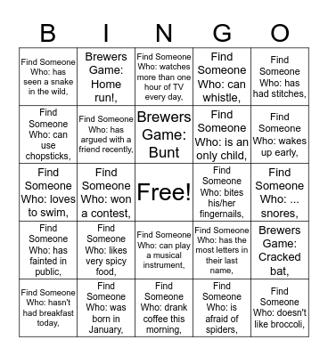 NTS Brewers Game Meetup Bingo Card