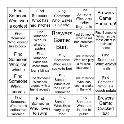 NTS Meetup - Brewers Game Bingo Card