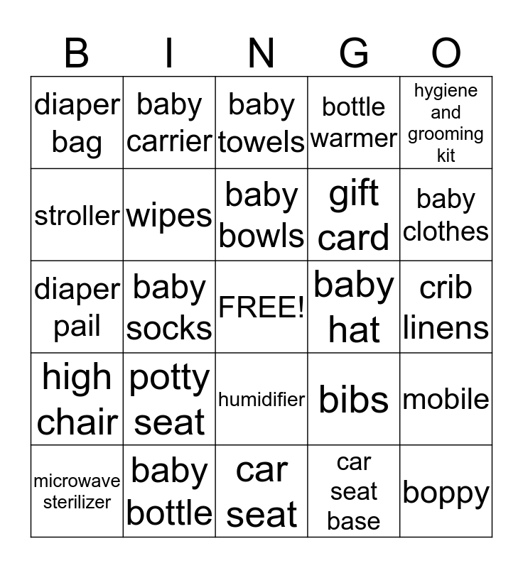 Baby Faith's Gifts Bingo!!! Bingo Card