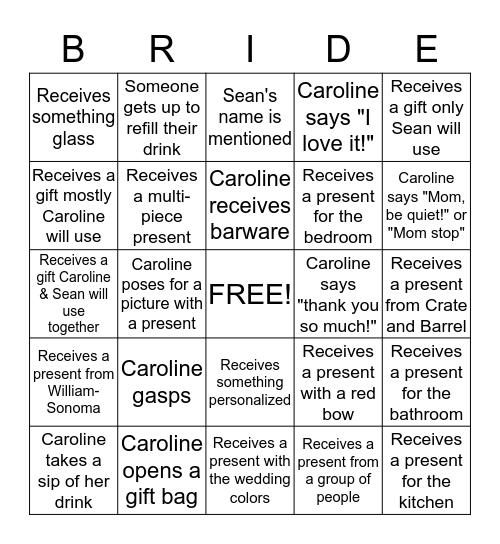 Caroline's Bridal Shower Bingo! Bingo Card