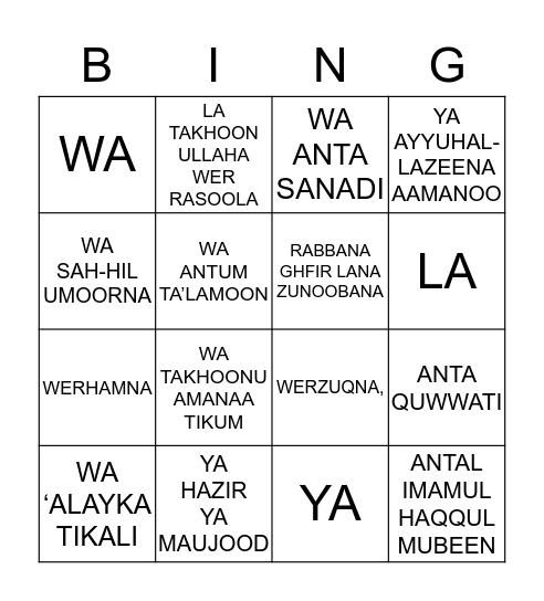 NAME:_____PART:-___ Bingo Card