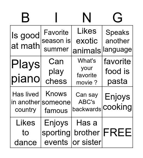 Getting to Know Me Bingo Card