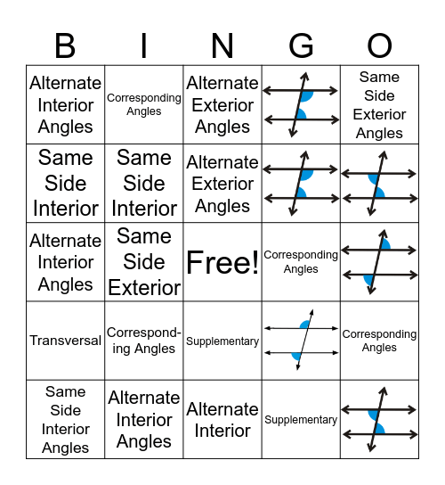 Parallel Lines and Angles BINGO Card
