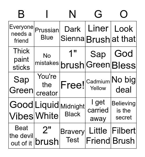 """Bob Ross"" Bingo Card"