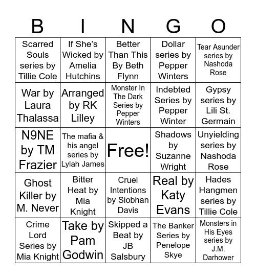 L.V. Romance Bingo Card