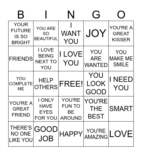 WORDS OF AFFIRMATION Bingo Card
