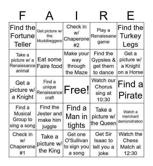 Renaissance Faire BINGO - CoverAll  Bingo Card