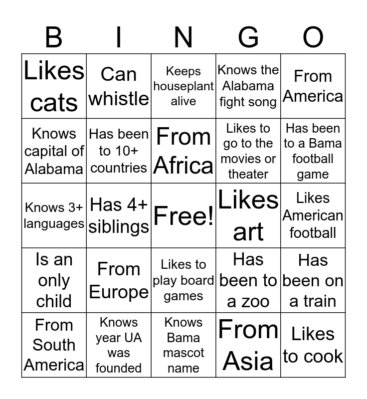 Bingo Bash Bingo Card
