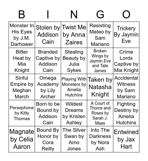 Eclectic Romance Books Bingo Card