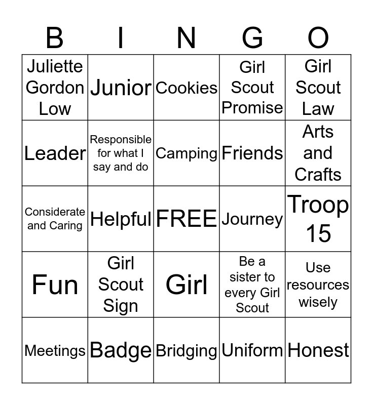 Brownie Bingo Card