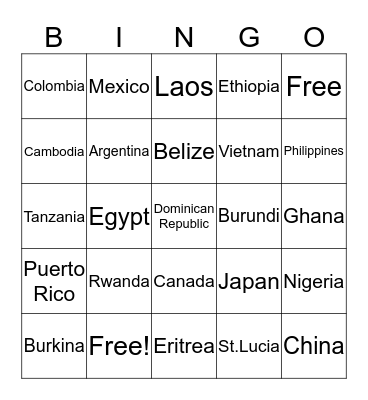 Name That Country Bingo Card