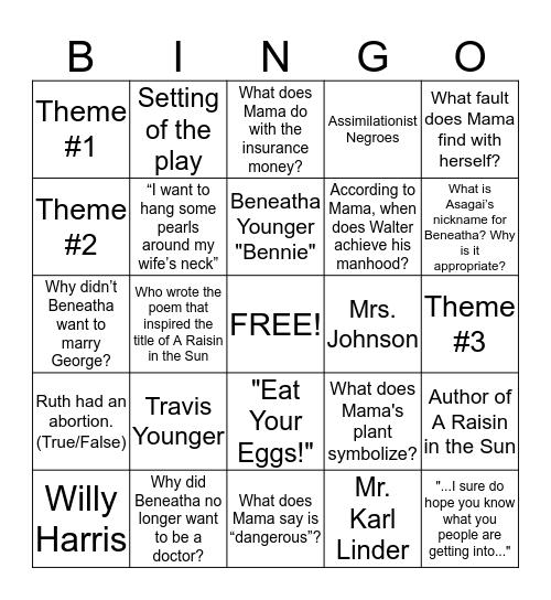 A Raisin in the Sun Review Bingo Card